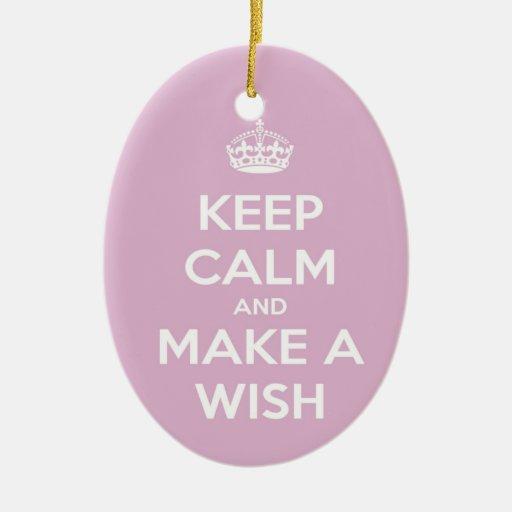 Keep Calm and Make A Wish Pink Christmas Ornament