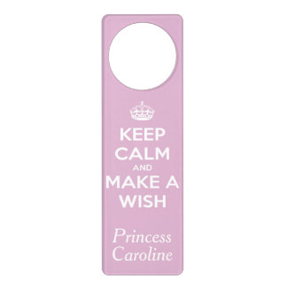 Keep Calm and Make A Wish Soft Pink Personalized Door Knob Hangers