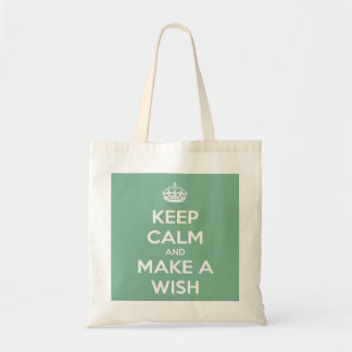 Keep Calm and Make a Wish Soft Teal Budget Tote
