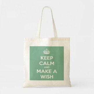 Keep Calm and Make a Wish Soft Teal Budget Tote Budget Tote Bag