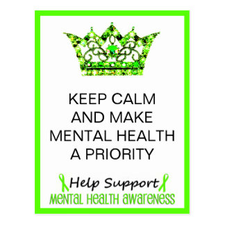 KEEP CALM AND MAKE MENTAL HEALTH A PRIORITY POSTCARD