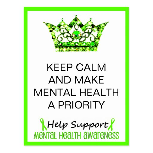 KEEP CALM AND MAKE MENTAL HEALTH A PRIORITY POSTCARDS