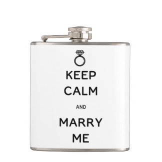 Keep Calm and Marry Me Flasks