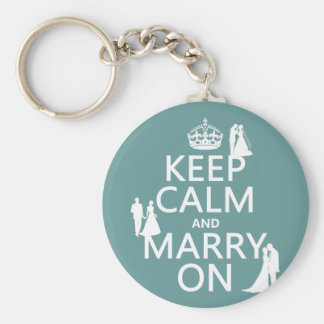 Keep Calm and Marry On (any color background) Basic Round Button Key Ring