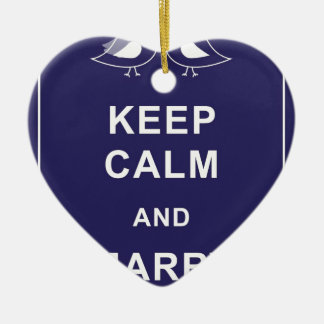 Keep Calm and Marry On Carry On Birds Ceramic Heart Decoration