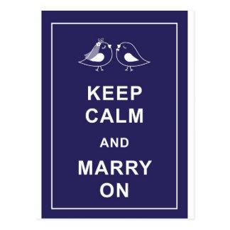 Keep Calm and Marry On Carry On Birds Postcard