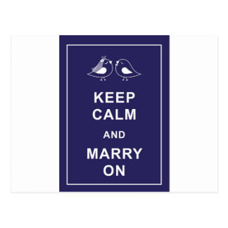 Keep Calm and Marry On Carry On Birds Postcard