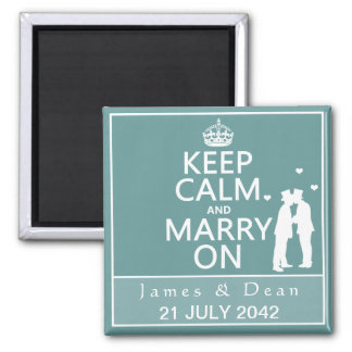 Keep Calm and Marry On Gay Wedding Square Magnet