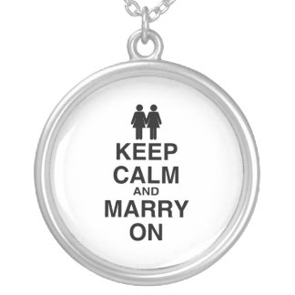 Keep Calm and Marry On Round Pendant Necklace