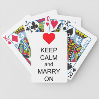 Keep Calm and Marry On Red Heart Bicycle Playing Cards