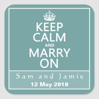 Keep Calm and Marry On Square Sticker