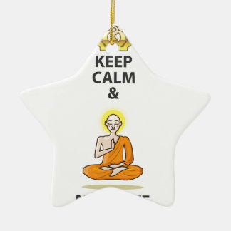 Keep Calm and Meditate Vector Art Gold Crown Christmas Ornament