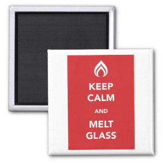 Keep Calm and Melt Glass Square Magnet