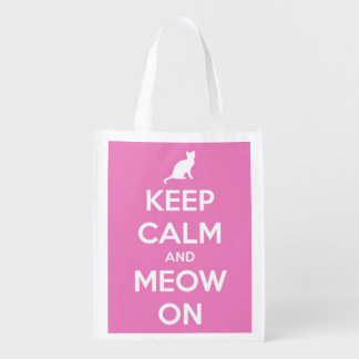 Keep Calm and Meow On Pink and White Personalized