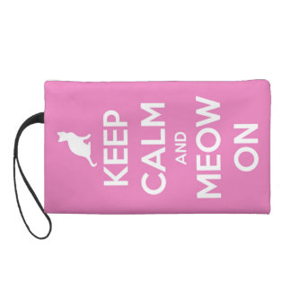 Keep Calm and Meow On Pink Wristlet Purse