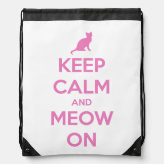 Keep Calm and Meow On Pink on White Drawstring Backpack