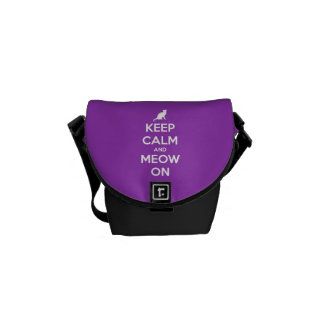 Keep Calm and Meow On Purple Commuter Bag
