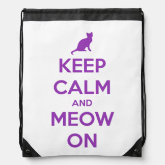 Keep Calm and Meow On Purple on White Drawstring Backpack