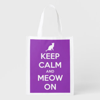 Keep Calm and Meow On Purple Personalized