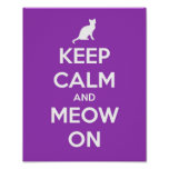 Keep Calm and Meow On Purple Poster
