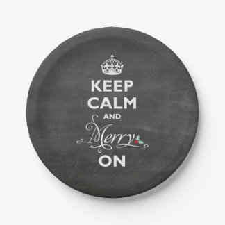 Keep Calm And Merry On Chalkboard Funny Holiday 7 Inch Paper Plate