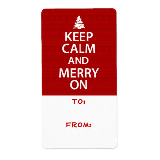 Keep Calm and Merry On Shipping Label