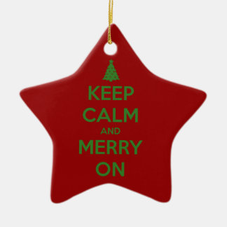 Keep Calm and Merry On Red and Green Ceramic Star Decoration