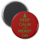 Keep Calm and Merry On Red and Green Refrigerator Magnet