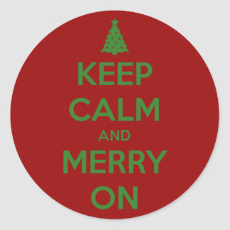 Keep Calm and Merry On Red and Green Sticker