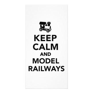 Keep calm and model railways photo card