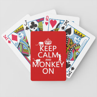 Keep Calm and Monkey On - all colours Bicycle Playing Cards