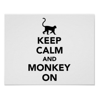 Keep calm and monkey on poster