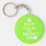 Keep Calm and Mow On Basic Round Button Key Ring
