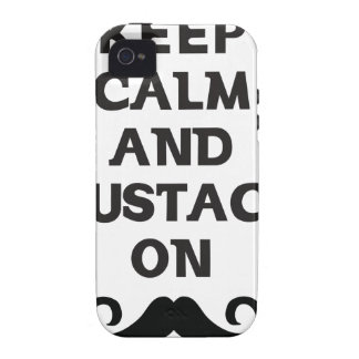 Keep Calm and Mustache On Case-Mate iPhone 4 Case