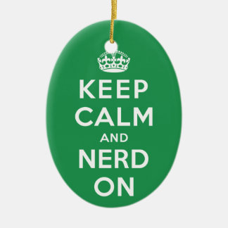 Keep Calm and Nerd On Christmas Ornament