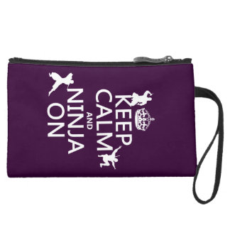 Keep Calm and Ninja On (in any color) Suede Wristlet