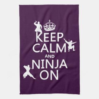 Keep Calm and Ninja On (in any color) Tea Towel