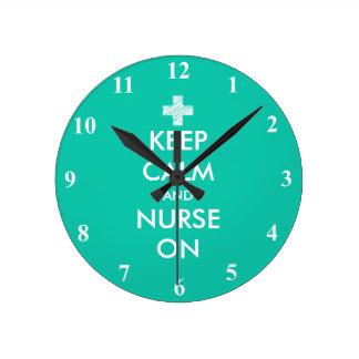 Keep Calm and nurse on custom wall clock