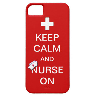 Keep Calm and Nurse On /White Cross and Nurse Cap iPhone 5 Case