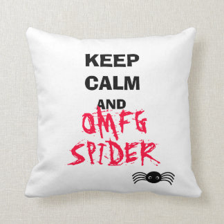 keep calm and OMFG spider Throw Pillow