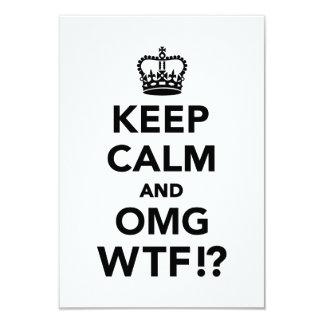 Keep calm and OMG WTF 9 Cm X 13 Cm Invitation Card