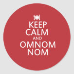 Keep Calm and Omnom Nom Round Sticker
