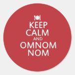 Keep Calm and Omnom Nom Round Stickers