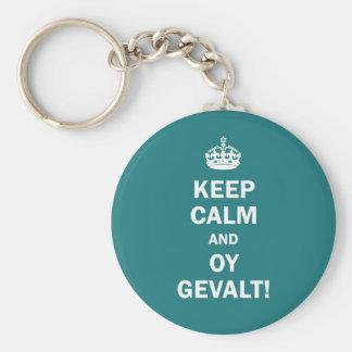 """Keep Calm and Oy Gevalt!"" Key Ring"