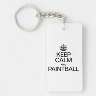 KEEP CALM AND PAINTBALL Double-Sided RECTANGULAR ACRYLIC KEYCHAIN
