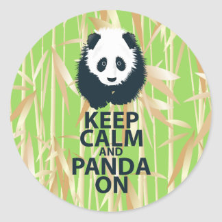 Keep Calm and Panda On Original Design Print Gift Round Stickers