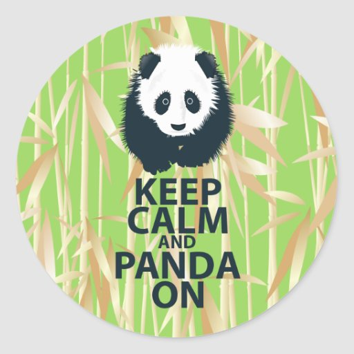 Keep Calm and Panda On Original Design Print Gift Round Stickers