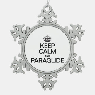 KEEP CALM AND PARAGLIDE SNOWFLAKE PEWTER CHRISTMAS ORNAMENT