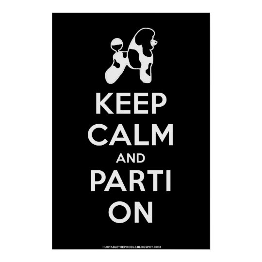 Keep Calm and Parti On Poster (Black)