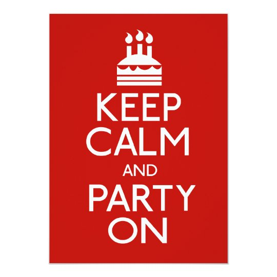 Keep Calm And Party On Birthday Cake Card